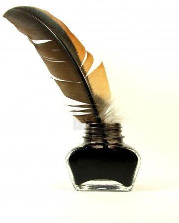 Photo for Inkwell with quill on the white background - Royalty Free Image