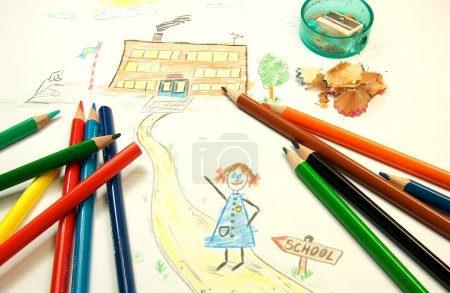 Photo for School drawing with color pencils - Royalty Free Image
