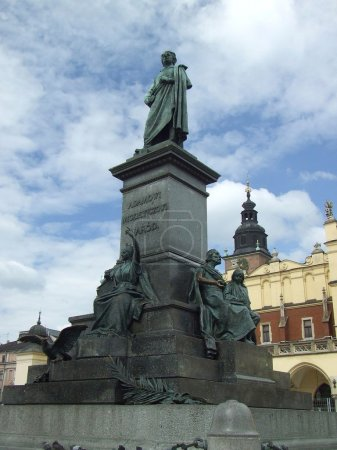 Photo for Adam Mickiewicz monument in Krakow square, Poland - Royalty Free Image