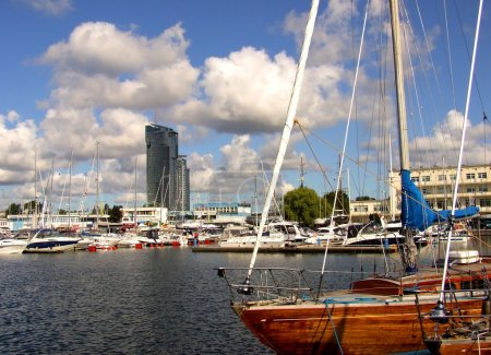 Photo for Marina with boat and Sea Tower building in Gdynia - Royalty Free Image