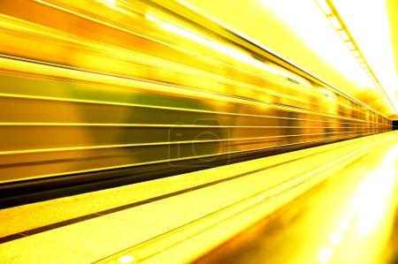 Photo for Subway. Underground station, motion blur. Tint orange - Royalty Free Image