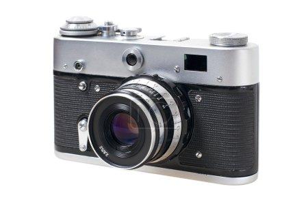 Photo pour Vieux style vintage caméra de film mécanique 35mm sur fond blanc - image libre de droit