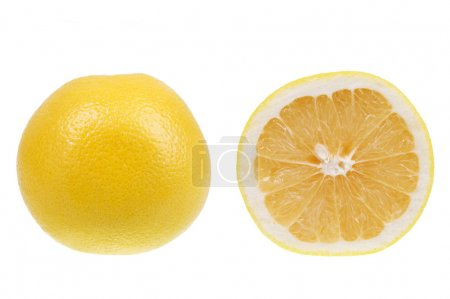 Photo for Yellow grapefruit isolated over white background - Royalty Free Image