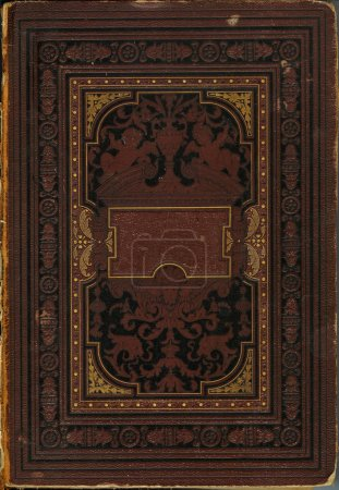 Photo for Old damaged book cover (1888 year) with ornament, vintage background - Royalty Free Image