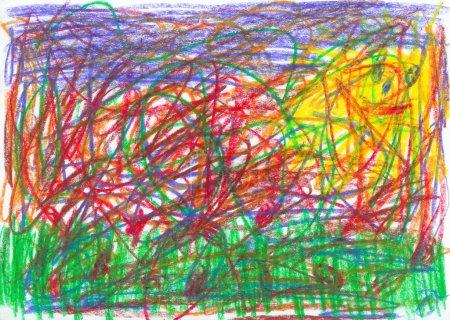 Photo pour Gribouillage d'enfant, dessiné par crayon - image libre de droit