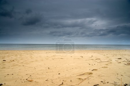 Photo for Empty beach and dramatic sky, Poland, Europe - Royalty Free Image