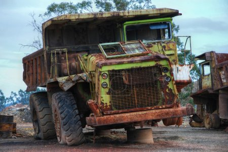 Old large dumper truck