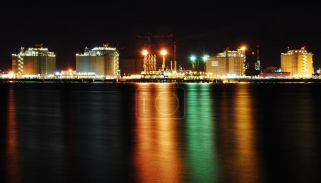 Factory big refinery in night - Spain.