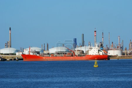 Factory big refinery and carrier ship