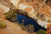 Beautiful red lake, acid mine drainage.