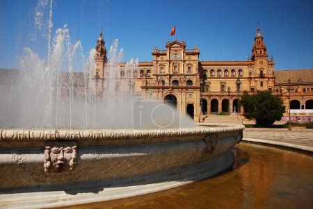 Fountain in Plaza de Espana, Seville.