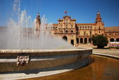 Fountain in Plaza de Espana, Seville.