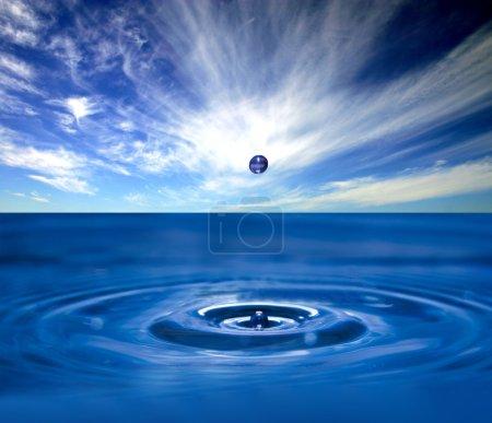 Water splash with drop
