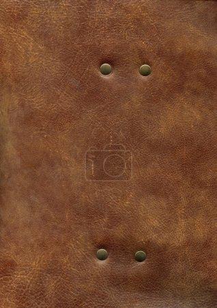 Photo pour Texture cuir marron AC avec rivet - image libre de droit