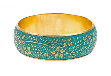 Vintage golden bracelet on white
