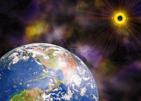 Photo pour Planète terre bleue et le soleil dans l'espace - image libre de droit