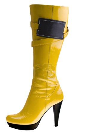 Stylish high heel fashion yellow boot