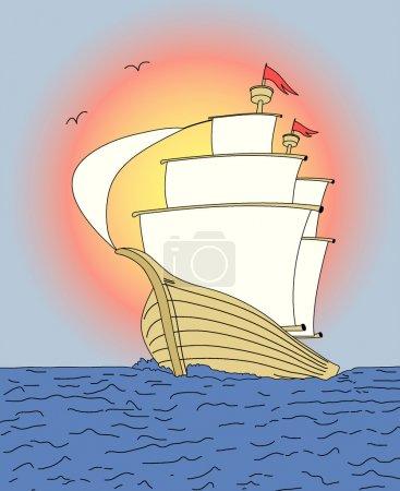 Photo pour Navire sur le ciel couchant - illustration vectorielle. Changement de couleur entièrement modifiable et facile . - image libre de droit