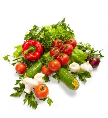 Foto de Verduras frescas, frutas y otros productos alimenticios. - Imagen libre de derechos