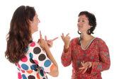 Neslyšící uživatelé ručně demonstrovat