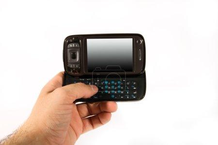 Photo pour Isolé smartphone noir sur fond blanc, cellule à main - image libre de droit