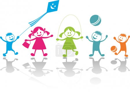 Illustration for Cheerful playing children.Vector illustration - Royalty Free Image