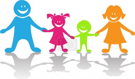 Illustration for Cheerful family .Vector color illustration - Royalty Free Image