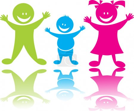Illustration for Cheerful happy children boys and girl in color, vector art - Royalty Free Image