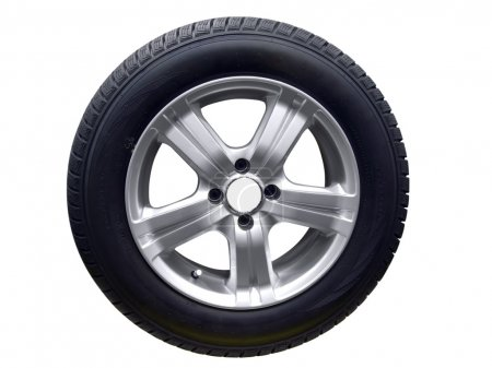 Photo for Tire with aluminum wheel isolated - Royalty Free Image