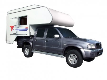 Pickup truck with camping trailer