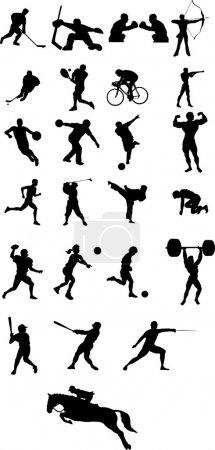 Illustration pour Icônes de sport et de la silhouette vector illustration - image libre de droit