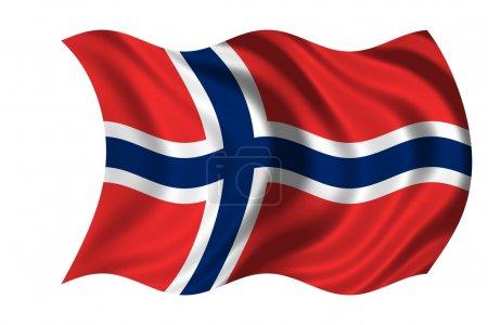 Photo pour Drapeau ondulé Norvège - image libre de droit