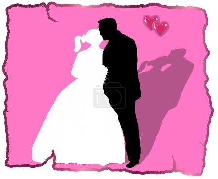 Hochzeitspaar rosa Hintergrund