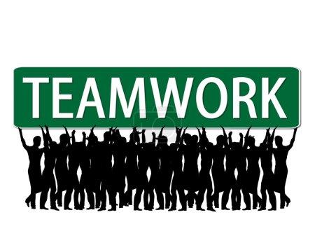 Business slogan Teamwork Roadsign