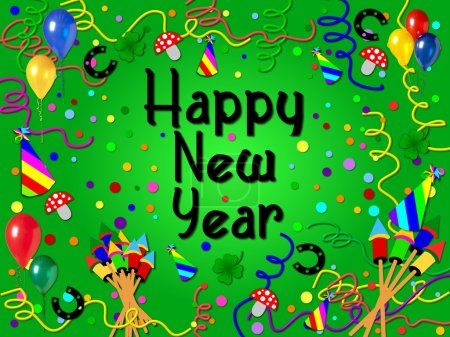 Photo for Colorful happy new year background green - Royalty Free Image