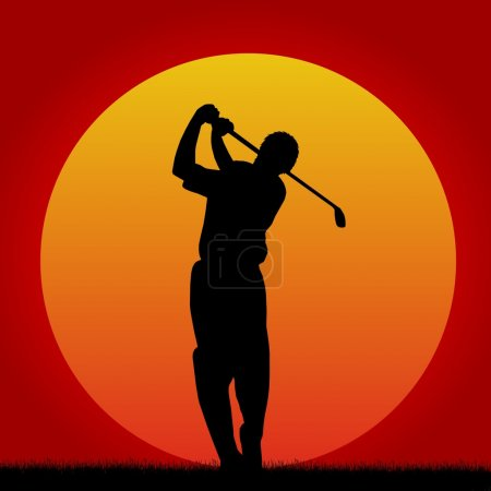 Silhouettes of golf player in sunset