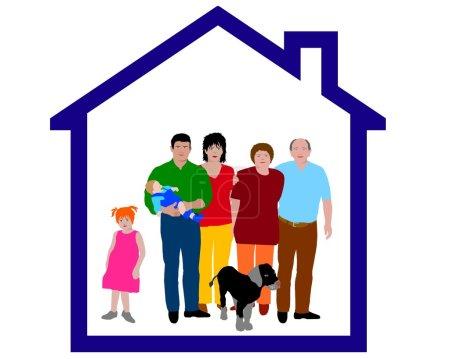 Photo pour Famille dans une maison - image libre de droit