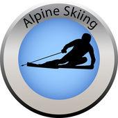 Winter game button alpine skiing