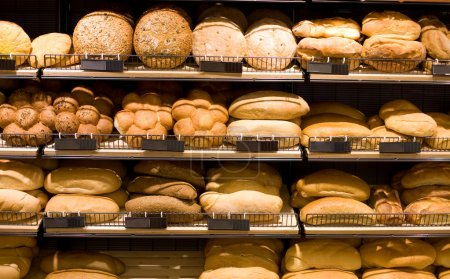 Photo for Various bread type on shelf. Bakery shop concept - Royalty Free Image
