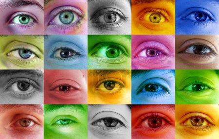 Multi color human eyes