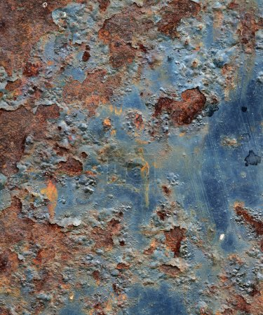 Photo for Cracked paint on an old metal surface. Grunge rusty metal texture - Royalty Free Image