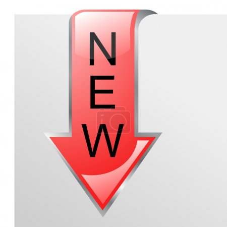 New red glossy corner arrow