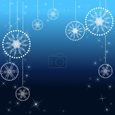 Illustration for Abstract Christmas background with snow and snowflake on blue background - Royalty Free Image