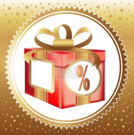 Illustration pour Boîte cadeau rouge avec un symbole de pour cent - image libre de droit