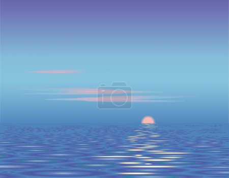 Illustration for Sunset above the sea. Calm. Vector background. - Royalty Free Image