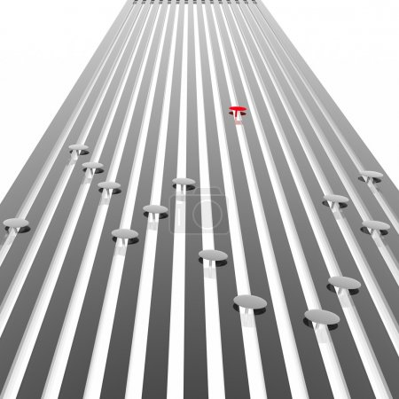 Photo for Grey graphic equalizer with the allocated element - Royalty Free Image