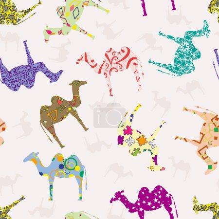 Illustration pour Modèle sans couture avec chameaux - image libre de droit
