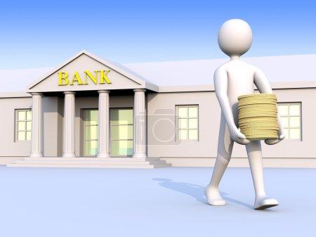 Photo pour Homme, laissant la Banque avec l'argent (pièces de monnaie) dans ses mains - image libre de droit