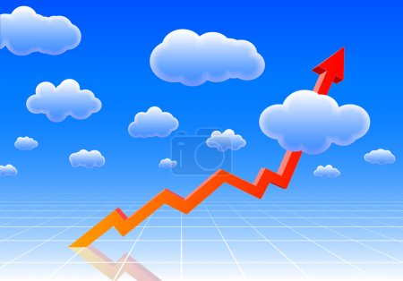 Illustration for Arrow graph showing results so high, it reaches the sky - Royalty Free Image