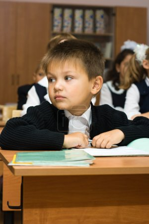 The boy at school at a lesson